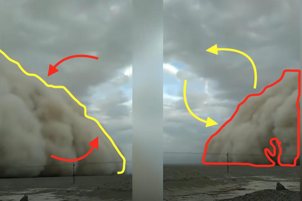 مقارنة بين عاصفة رملية ولون غيمة في السماء