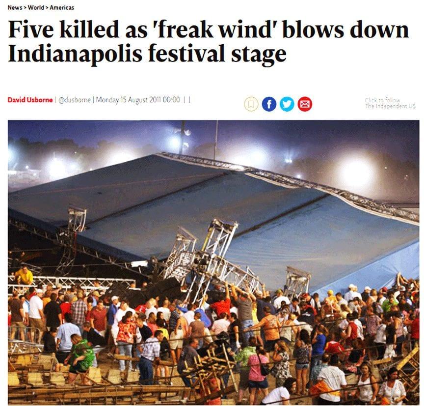 تقرير عن انهار مسرح في ولاية انديانا الأمريكية