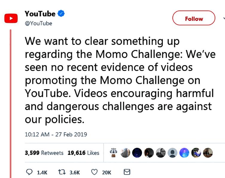 يؤكد موقع YouTube على عدم وجود أي دليل على مقاطع فيديو تروّج لـتحدي Momo علىYouTube