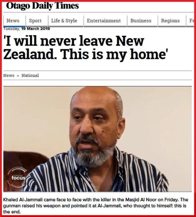 خالد الجمالي رافع السبابة في هجوم نيوزيلندا يؤكد أنه لن يغادر البلد.
