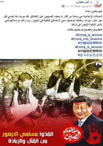 ادعاء تعذيب مسلمي الإيغور في الصين وتعليق الكلاب الميتة في رقابهم