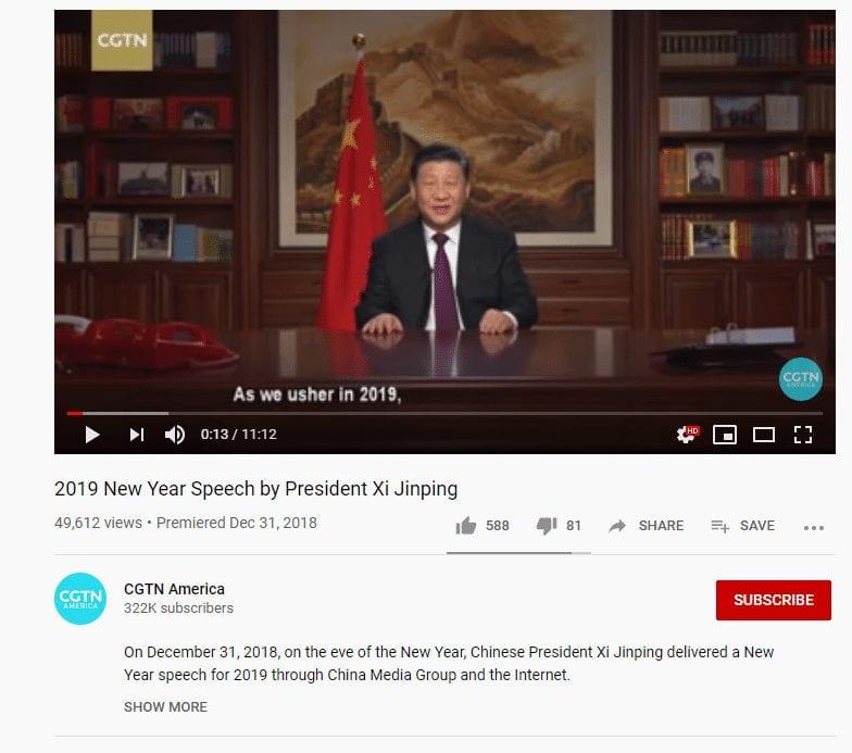 ادعاء تصريح رئيس الصين أن كورونا وهم الحقيقة غاز السارين بينما الفيديو من تهنئته بالعالم 2018