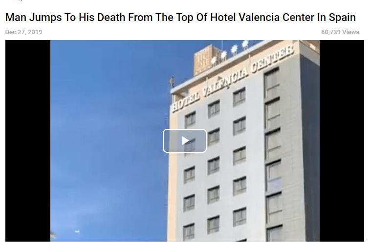 لقطة تظهر انتشار الفيديو في نهاية 2019 وحادثة الانتحار في أسبانيا وليس ايطاليا ولا علاقة لها بفيروس كورونا
