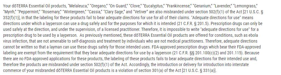 جزء من رسالة منظمة الغذاء والدواء الامريكية توضح عدم صحة الترويج للقرنفل ضمن مواد أخرى كعلاج