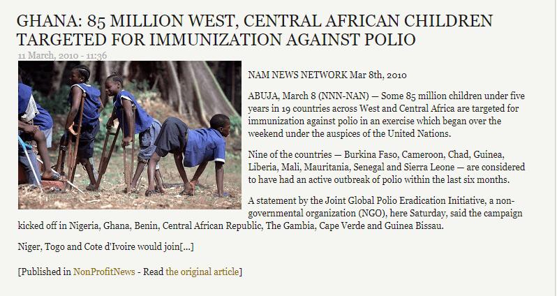 محتوى أقدم مقال يحتوي على صورة ادّعاء صورة أطفال نتيجة تجارب لقاحات شلل الأطفال
