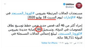 الحالة الوبائية كورونا المستجد الإمارات