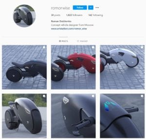 صورة حساب مصمم الدراجة على انستغرام