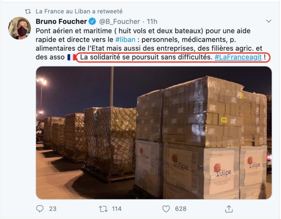 تغريدة سفير فرنسا في شأن المساعدات نحو لبنان