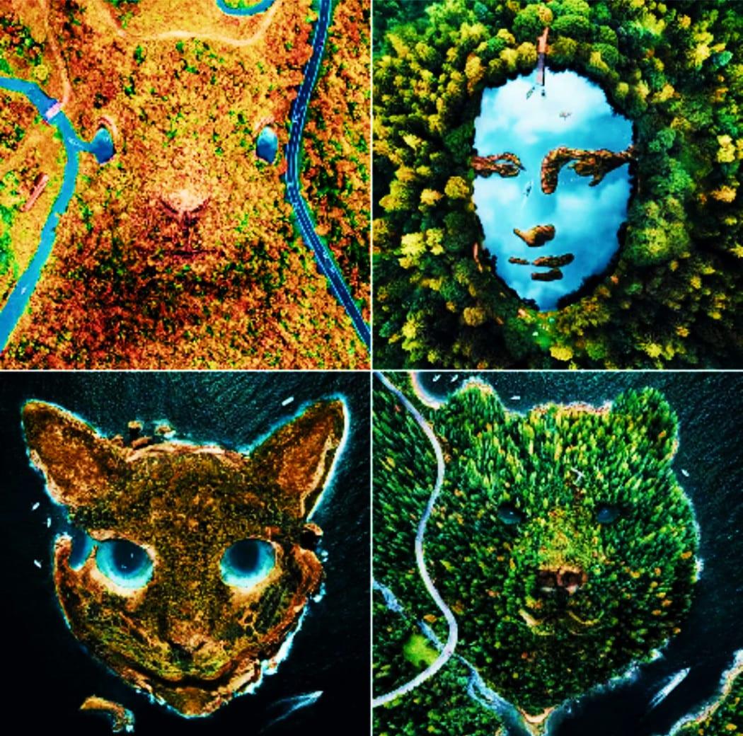 صور يظهر فيها مناظر طبيعية على هيئة حيوانات ادعاء زائف فتبينوا