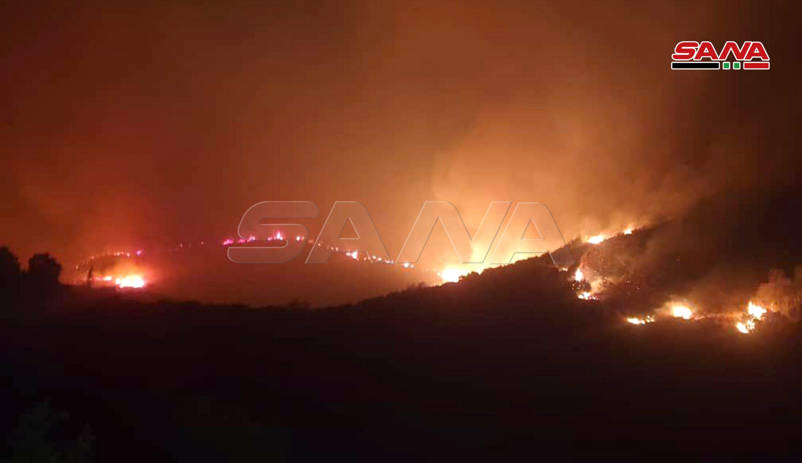 صورة تظهر الحرائق في منطقة مصياف السورية
