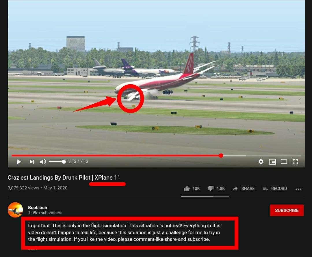 المقطع عبارة عن محاكاة ثلاثية الأبعاد وليس هبوطا اضطراريا قامت به مضيفة طيران.