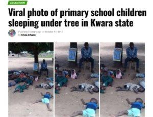 صحيفة correct neg تنشر صورة أطفال مدرسة ينامون في نيجيريا وليس السودان - ادعاء زائف جزئيا