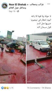 مصدر ادعاء الأمطار بلون الدم في نيجيريا - زائف جزئي - فتبينوا