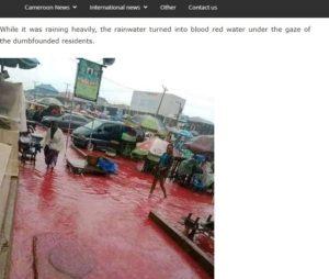 تقرير موقع cameron عن فيديو ادعاء الأمطار بلون الدم في نيجيريا