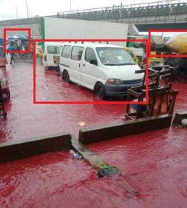 لون السيارات لم يتغير - ادعاء الأمطار بلون الدم - فتبينوا - زائف جزئي