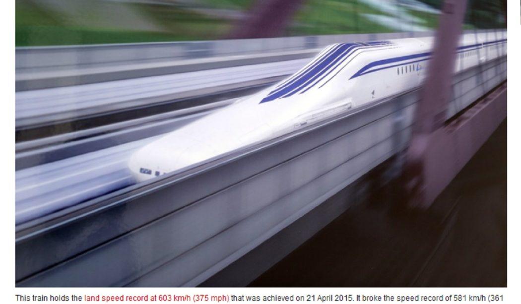 ادعاء أسرع قطار في العالم في اليابان بسرعة 4800 مضلل فتبينوا