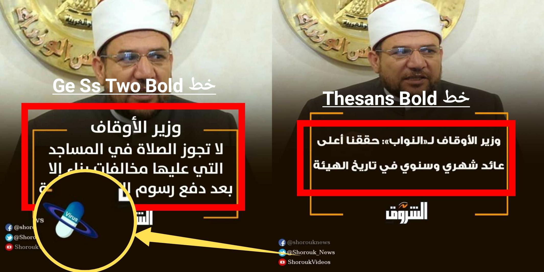 مقارنة بين أحد تصميمات صفحة جريدة الشروق (اليمين) والتصميم الذي يتم تناقله في الادعاء (اليسار)