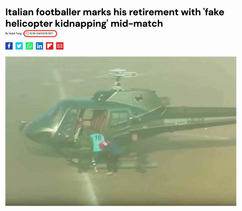 اختطاف مزيف لاعب إيطالي من الملعب