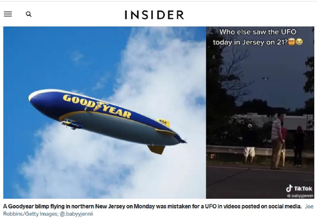 تقرير موقع insider عن ظهور طبق طائر وأنه منطاد في نيوجيرسي
