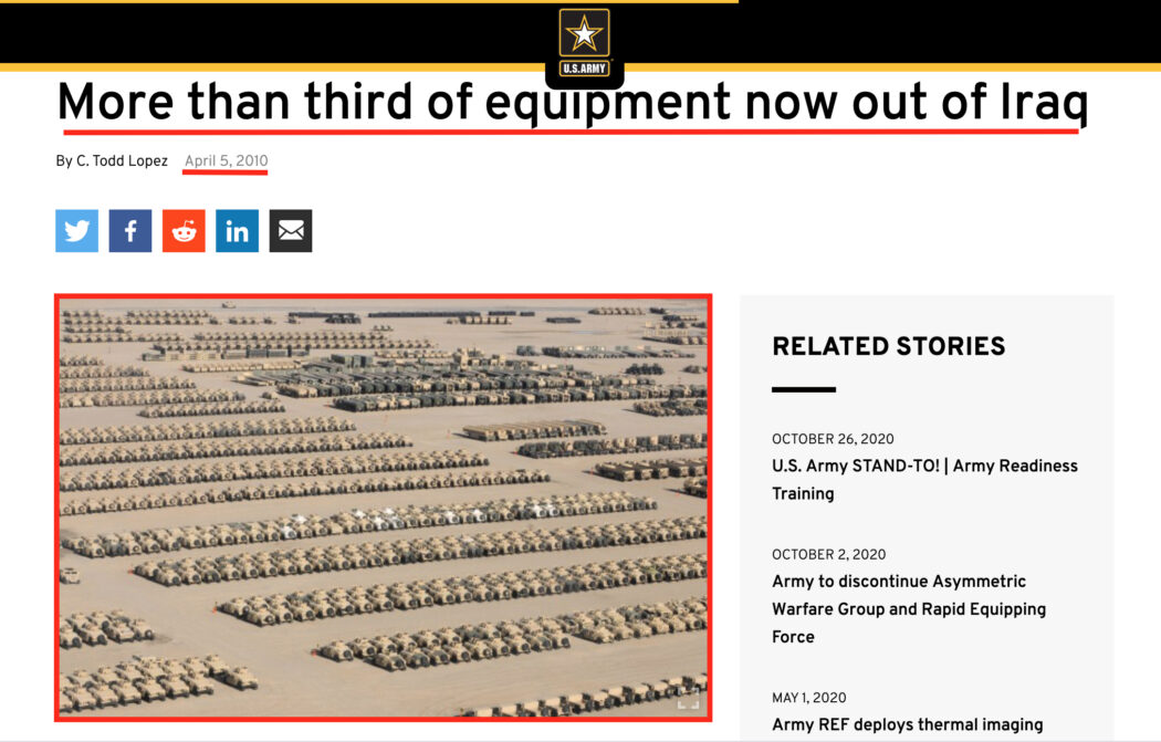 هذا عتاد عسكري أمريكي في العراق وليس سوق متلاشيات