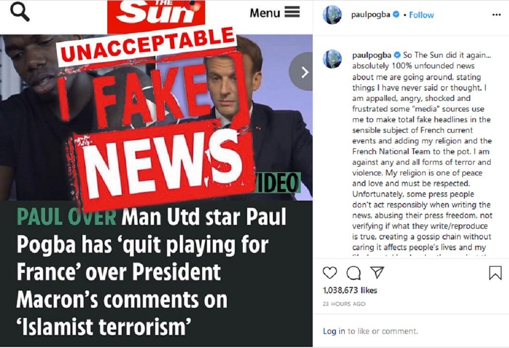 اللاعب الفرنسي بول بوغبا ينفي خبر اعتزاله على حسابه انستغرام فتبينوا