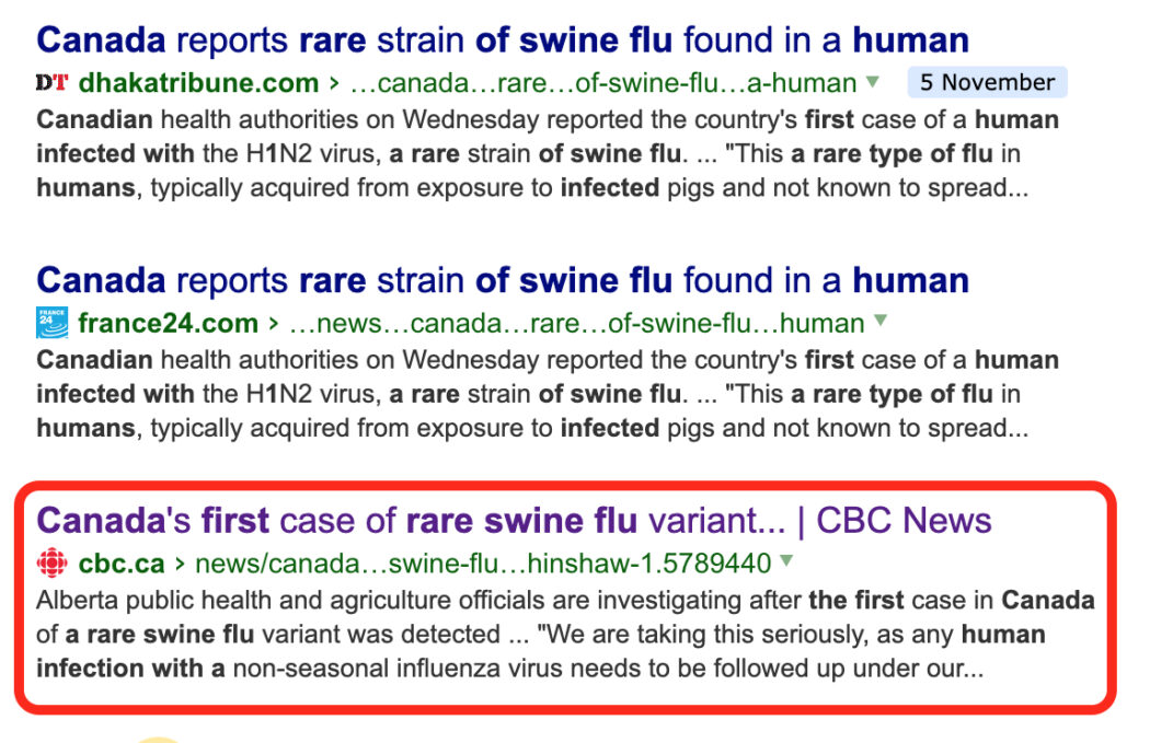 مقال عن خبر إنفلونزا الخنازير في كندا