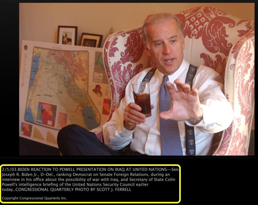 صورة جون بايدن عام 2003 وليس بعد تسلمه الرئاسة في الولايات المتحدة الأمريكية