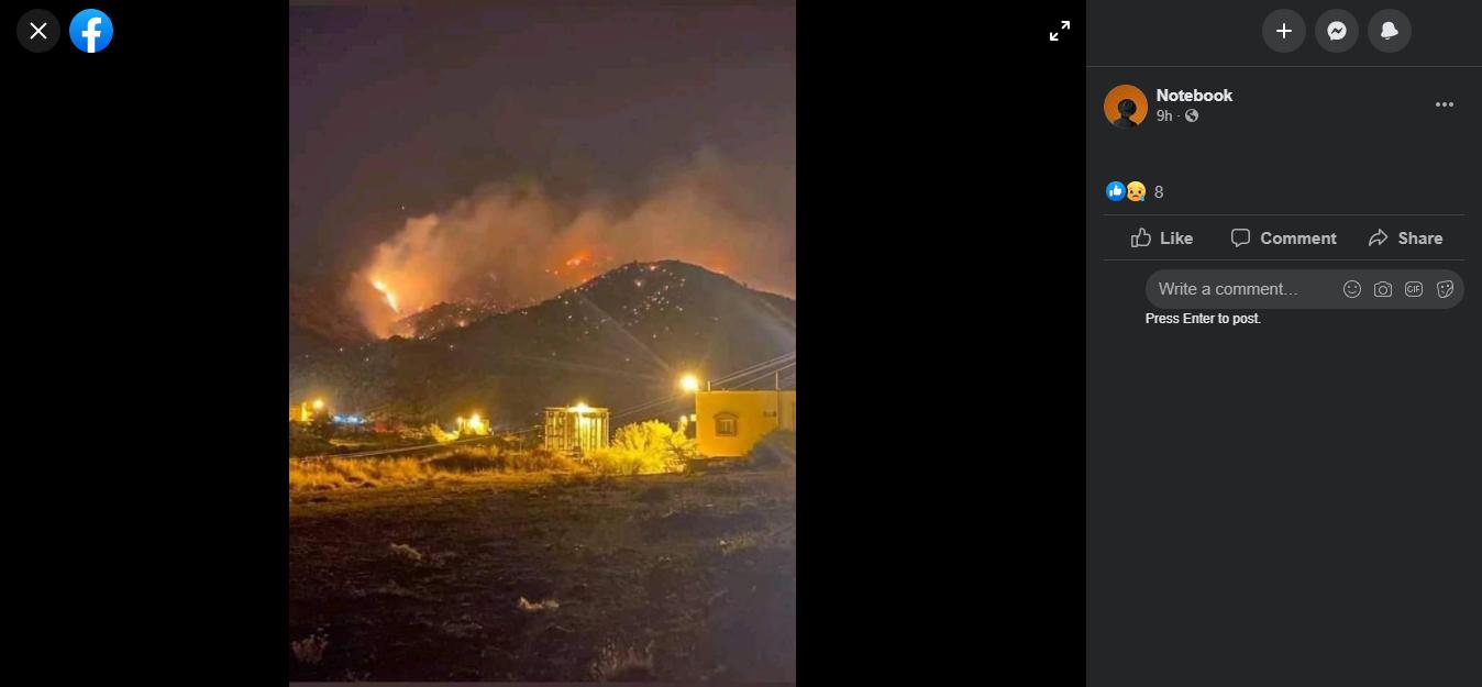 لم يندلع حريق ضخم بمنطقة مكة المكرمة مؤخرا والوسائط المستعملة في الترويج لذلك قديمة.
