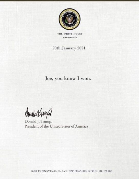 الرسالة التي تركها الرئيس الأمريكي الأسبق دونالد ترامب زائفة