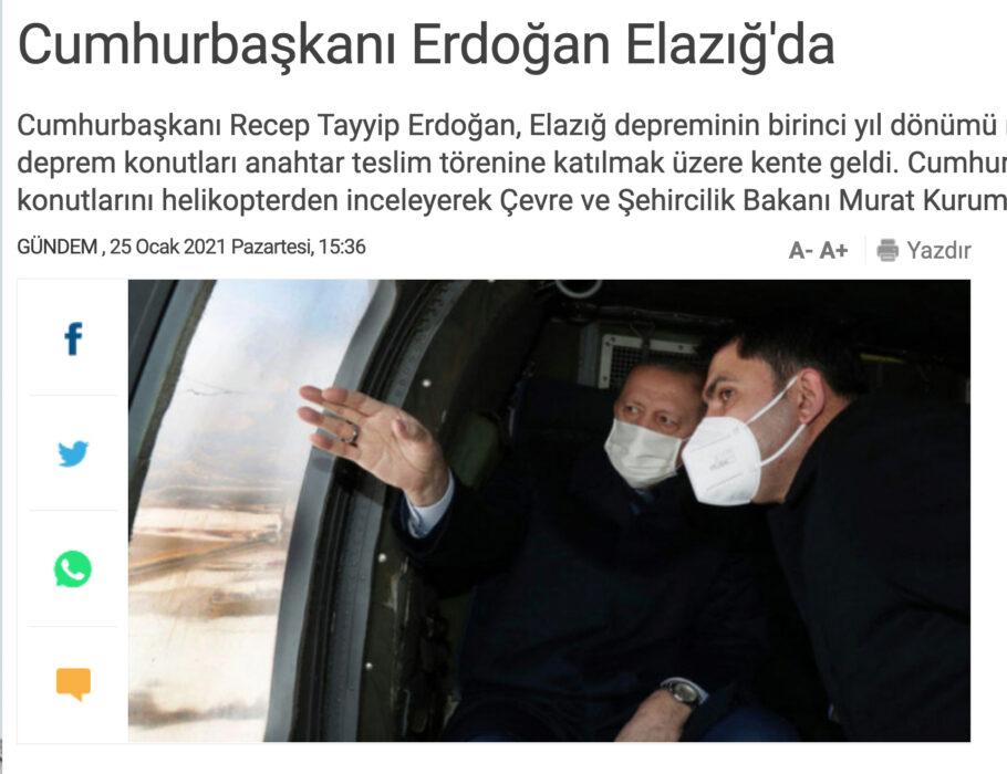 الرئيس التركي يتفحص منازل المتضررين من الزلزال الذي ضرب إلازيغ