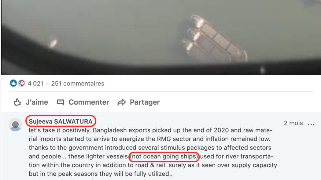 مقطع فيديو صور في بنغلاديش ولا علاقة لها بقناة السويس