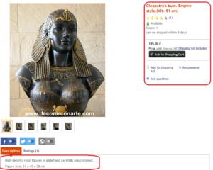 تمثال كليوباترا للبيع اون لاين فتبينوا