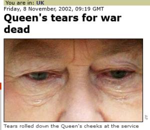 دموع الملكة اليزابيث في يوم الذكرى