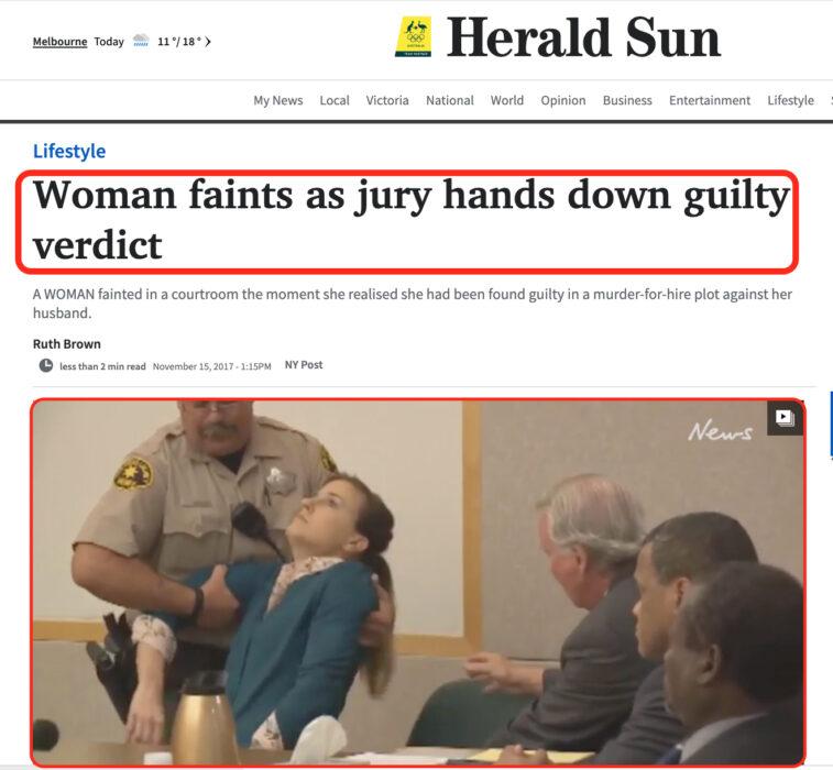 هذا المقطع يظهر امرأة أغمي عليها خلال جلسة محاكمتها ، ولم يصدر في حقها حكم بالسجن المؤبد