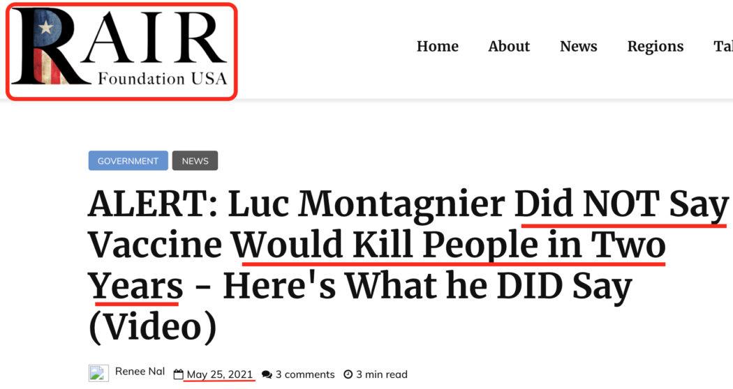 لا، لم يصرح لوك مونتابييه بأن الملقحين ضد كورونا معرضون للموت في غضون سنتين