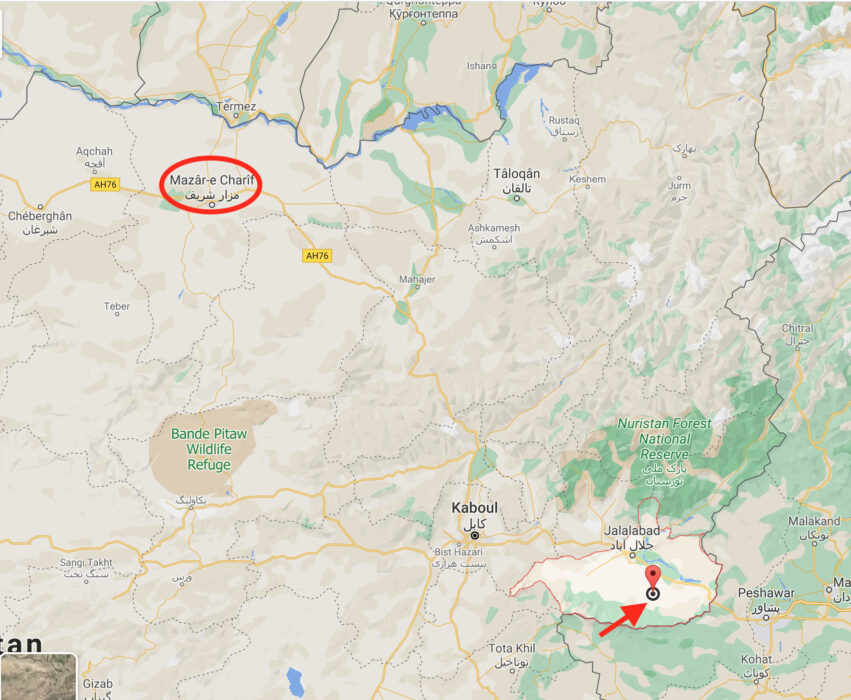 خريطة توضح مكان التقاط الصورة في مزار الشريف والمنطقة التي عمل فيها الدكتور ناكامورا