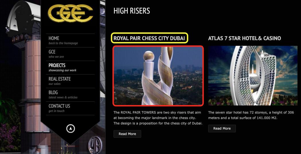 تصميما مقترحا يظهر برجين في مدينة دبي الإماراتية