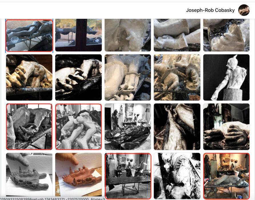 مراحل إنجاز مجسما فنيا و ليس ذئبا بشريا في السعودية