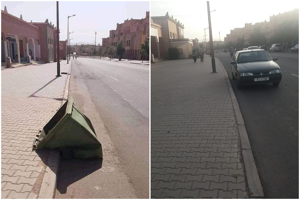 صورة حاوية القمامة تعد إلى حي أيت كظيف في المغرب وليس الجزائر فتبينوا