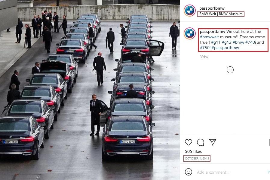 صورة الادعاء على صفحة الانستغرام وتعود لسيارات BMW فتبينوا