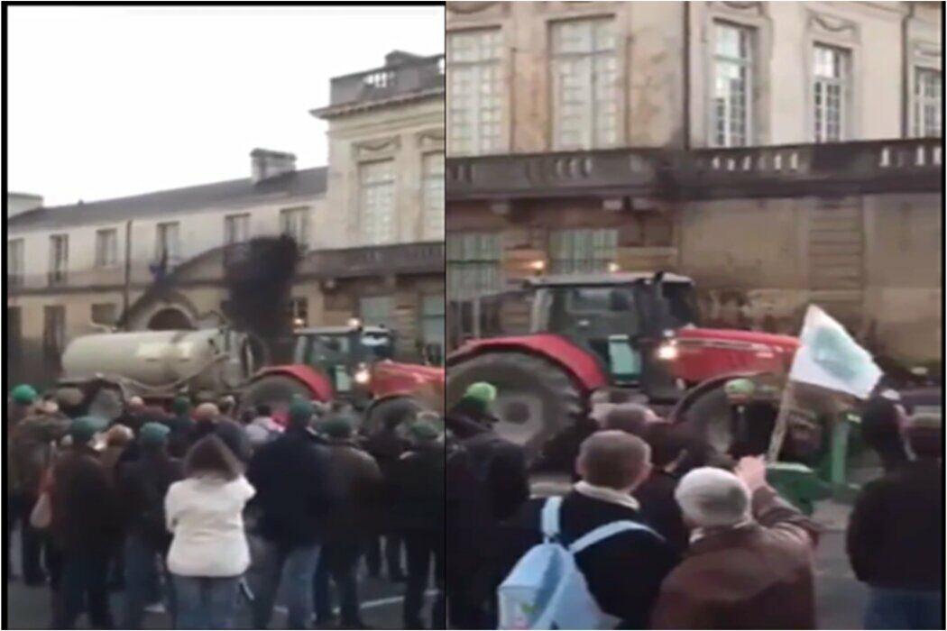 مزارعون فرنسيون يرشون مقر اامة الرئيس الفرنسي