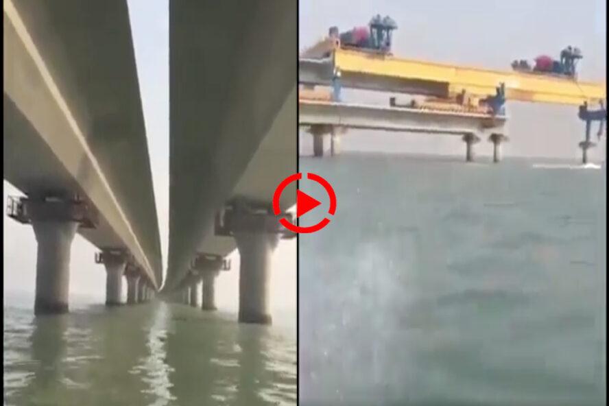 هذا جسر الشيخ جابر الأحمد الصباح في الكويت وليس الجسر البري بين مصر والسعودية