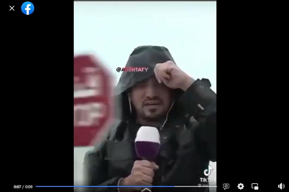 ادعاء مذيع يصطدم بشارة مرور في إعصار شاهين فتبينوا
